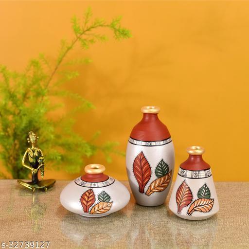 Silver Bloom Earthen Vases Handpainted in Tribal Art