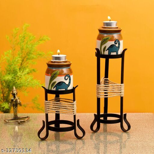 Happy Elephant Candle Pots with Metal Stand - So2