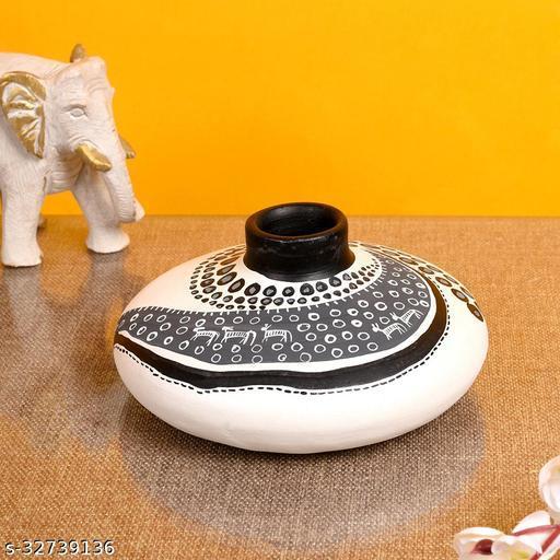 Vase Earthen Handcrafted White Warli 3.5x6.5(HxD)