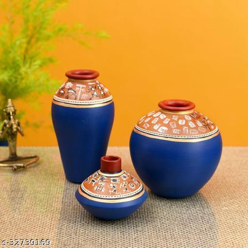Exotic Warli Vases in Blue color (Set of 3)