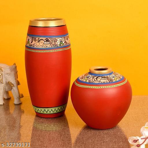 Vase Earthen Red Madhubani (Set of 2)  (9x4/5x5)