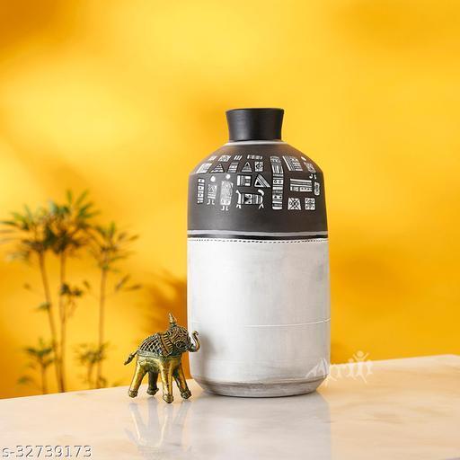 Vase Earthen Handcrafted Black & White Warli 4.6x8.2(HxD)
