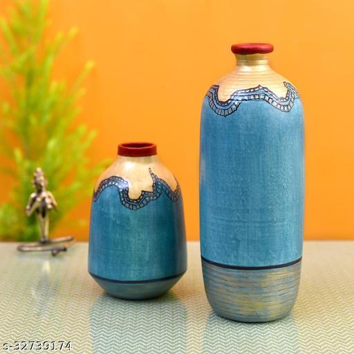 Turquoise Blue Golden Glaze Vase Set of 2 (10.5x4/6.5x4 Dia)