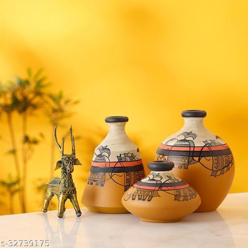 Yellow Terracotta Vases with Madhubani Tattoo Art