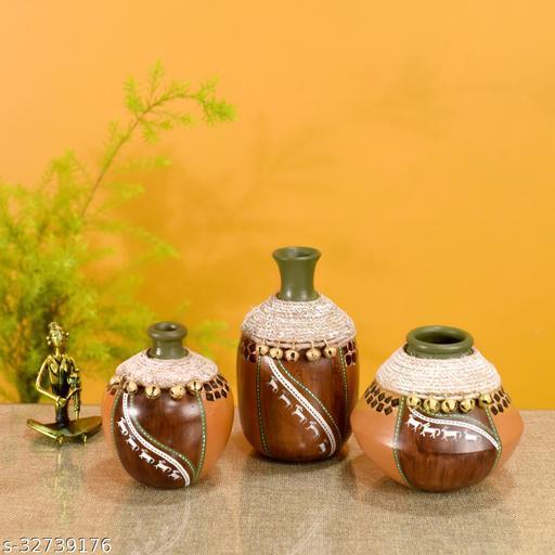 Coco-F Jute Embellished Earthen Vases in Warli Art