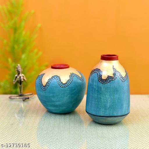 Turquoise Blue Golden Glaze Vase Set of 2 (6x5/6.5x4 Dia)