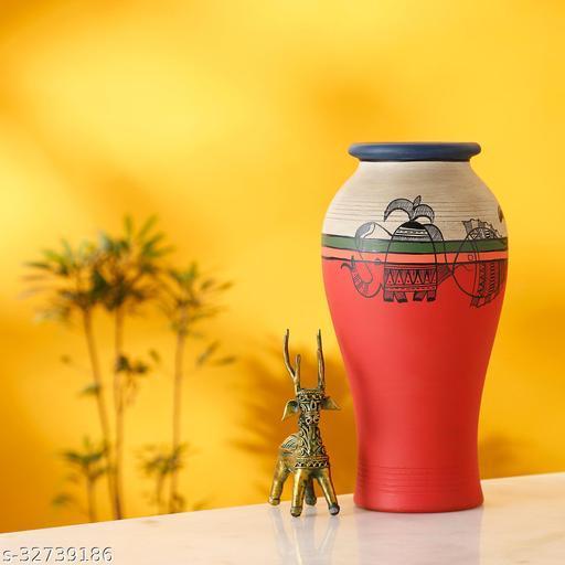 Carrot Red Earthen Vase with Madhubani Tattoo Art