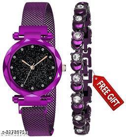 Ladies magnetic belt watch and bracelet combo