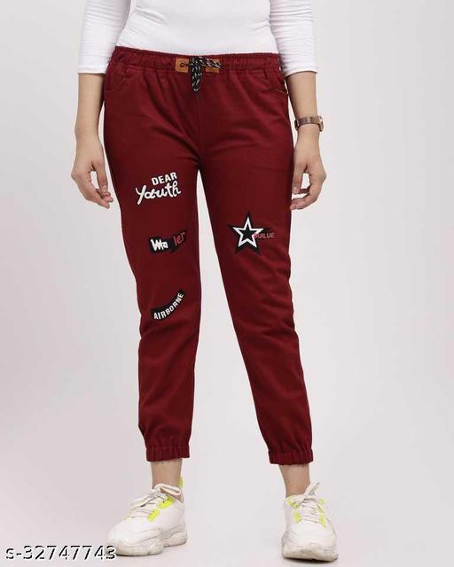 Jogger Fit Women Maroon Cotton Jeans