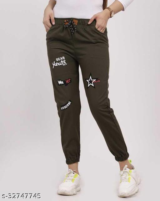 Jogger Fit Women Mehandi-Green Cotton Jeans
