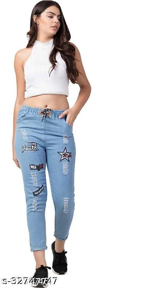 Jogger Fit Women Light Blue Cotton Jeans