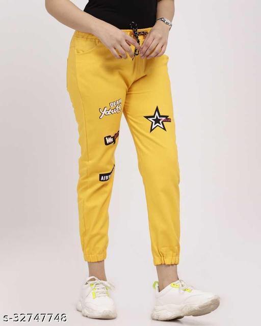 Jogger Fit Women Yellow Cotton Jeans