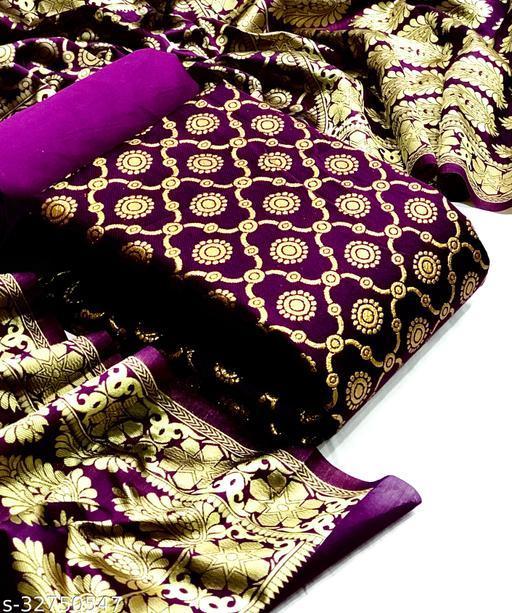 Poonam Designer Presents Banarasi Silk Jacquard Dress Material For Womens. Suits