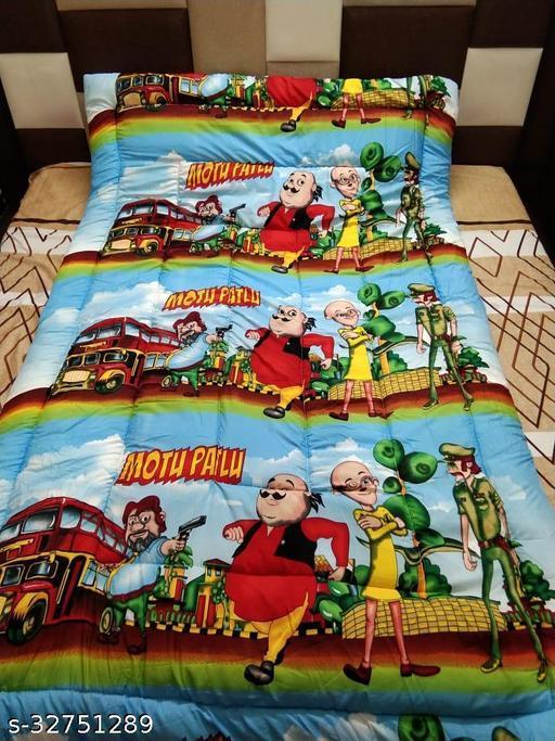 Myra Home Motu Patlu Print Colorfull Disgine baby comforter Filled wd Super Soft Fiber Blanket Size-53 x 88 cm