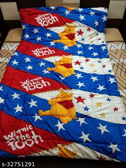Myra Home Winnie The Pooh Colorfull Disgine baby comforter Filled wd Super Soft Fiber Size-53 x 88 cm