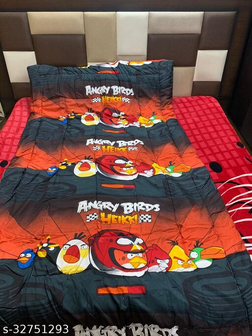 Myra Home Angry Birds Colorfull Disgine baby comforter Filled wd Super Soft Fiber Size-53 x 88 cm