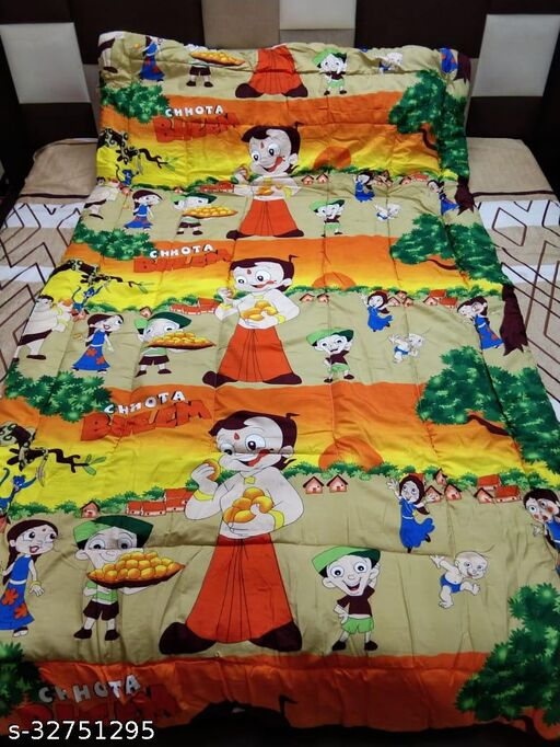 Myra Home Chhota Bheem Print Colorfull Disgine baby comforter Filled wd Super Soft Fiber Blanket Size-53 x 88 cm