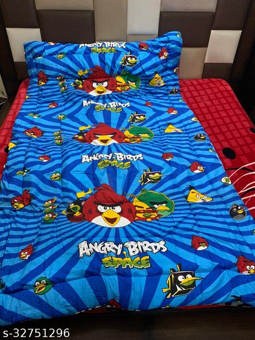 Myra Home Angry Bird Space Print Colorfull Disgine baby comforter Filled wd Super Soft Fiber Blanket Size-53 x 88 cm
