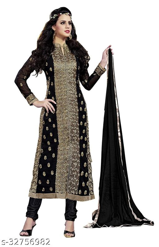 Kimisha Women's Black Georgette Unstitched Embroidered Dress Material