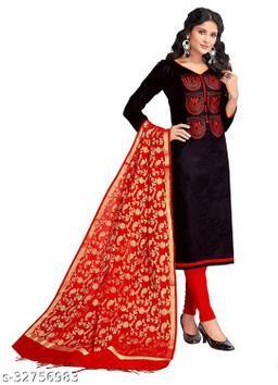 Kimisha Women's Black Cotton Embroidered Dress Material