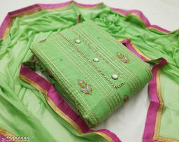 Kimisha Women's Pista Green Modal Silk Dress Material with Innar