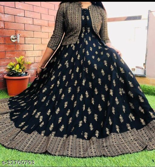 Trendy Black Gold  Printed  Dress With Jacket