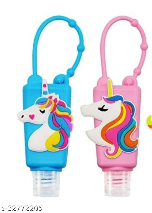 fancy unicorn hand sanitizer bottles with sanitizer for kids Silicone Keychain, Best for School , Office, Travelling ,Wallet ,car, Bike/ Party Favor - Pack of 2