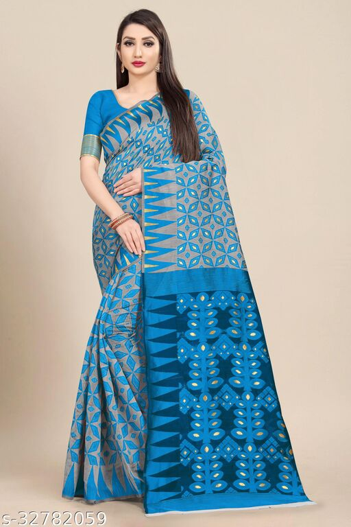 Women's Soft Cotton Dhakai Jamdani Grey Color with Contrast Pallu