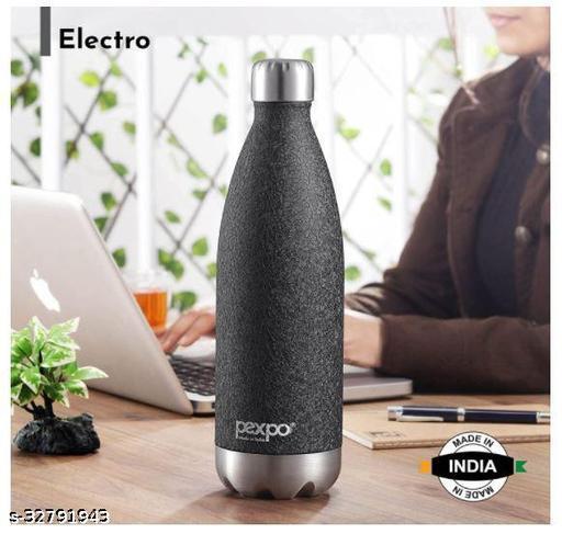Pexpo Electro 1000 ML Tri-ply Vacuum Insulated Steel Bottle 3X Durable Black Colour (Black)