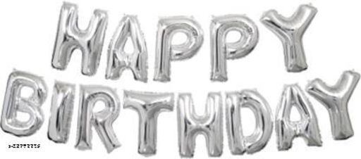 Lifelong Solid Happy Birthday Letter Foil Balloon Set of 63 Balloon  (Silver, Black, Silver, Gold, Pack of 63)
