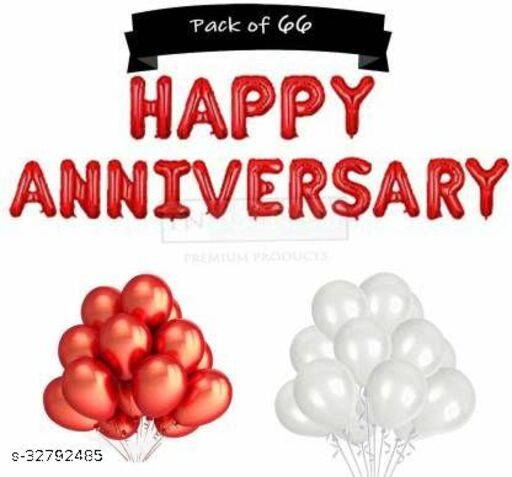 Solid HAPPY ANNIVERSRY RED WITH 40 METALIC BALOONS White, Red 16 Letter Balloon Pack of 56