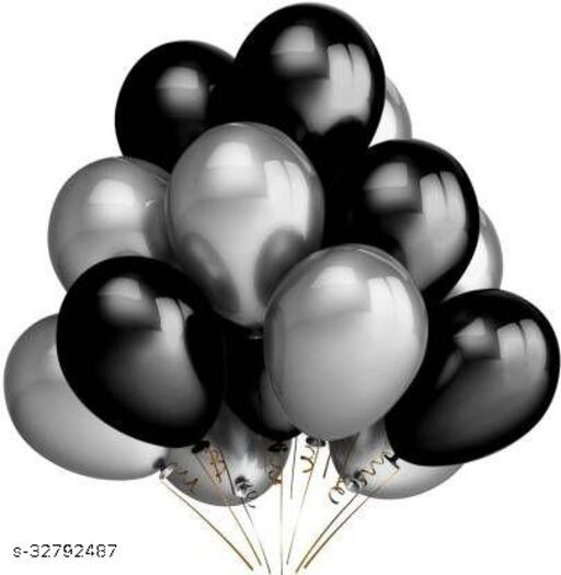 Lifelong Solid  Balloon  (Silver, Black, Pack of 50)