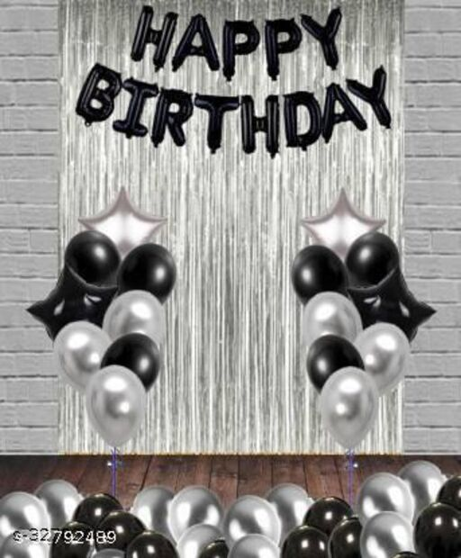 Solid HAPPY BIRTHDAY BLACK13 LETTER FOIL 2 SILVER STAR 2blackstar  2 SILVER CURTAIN 30 BLACK SILVER PACK 47 Letter Balloon  (Black, Silver, Pack of 49)