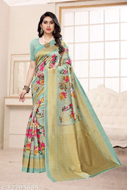 FLORAL SUPER HIT LATEST DESIGN  REASONABLY PRICED LIGHT WEIGHT COMFERTABLE WEAR   ( MATERIAL ART SILK - KHADI BLENDED ) SKIN FRIENDLY SAREE