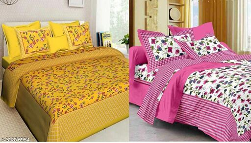 JAPURI DOUBLE BED COTTON BEDSHEET PACK OF 2                                                                 WITH 4 PILLOW COVER                                                                 FINE QUALITY FABRICS