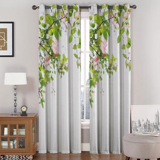 Avidya Trendy Polyester attractive well Green Patti Digital Printed Eyelet Curtain
