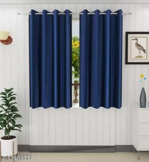 Dream Homz PLAIN CRUSH 5ft Window Curtain (Set of 2)