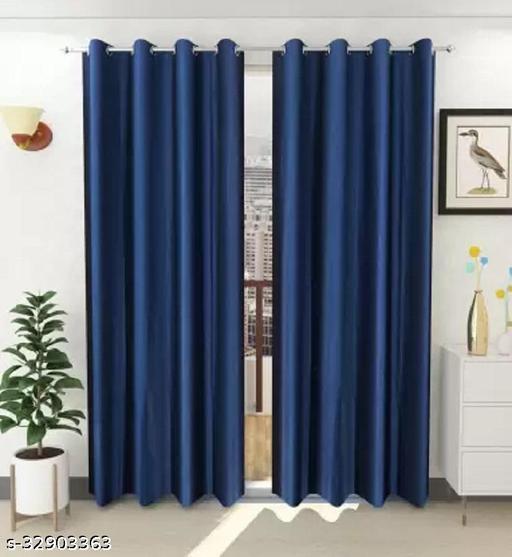 Dream Homz PLAIN CRUSH 7ft Window Curtain (Set of 2)