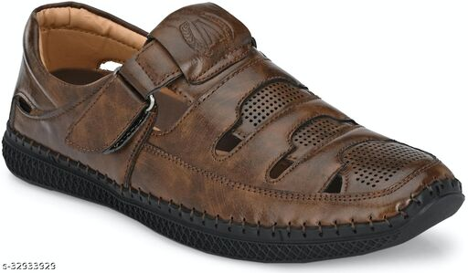 Men's Branded Synthetic Leather Sandals