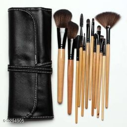 Black Leather Makeup Brush(Set of 12)