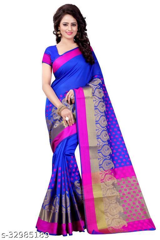 Designer daily wear jacquard banarasi cotton silk blue colour saree
