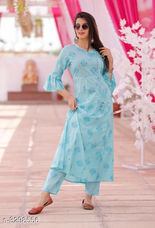 Kurta Sets Hariprima Elan Kurti Set  *Fabric* Kurti  - Cotton , Pant -   Cotton  *Sleeves* Sleeves Are Included  *Size* Kurti -  M - 38 in, L - 40 in, XL - 42 in, Pant - M - 30 in, L - 32 in, XL - 34 in, ,  *Length* Kurti - Up To 48 in, Pant - Up To 39 in  *Type* Stitched  *Description* It Has 1 Piece Of Kurti & It Has 1 Piece Of Pant  *Work* Kurti - Printed , Pant - Printed  *Sizes Available* M, L, XL, XXL   Supplier Rating: ★3.6 (12) SKU: SKT1110 Free shipping is available for this item. Pkt. Weight Range: 500  Catalog Name: Hariprima Elan Kurti Sets Vol 1 - SK Kripa Code: 967-3298556--