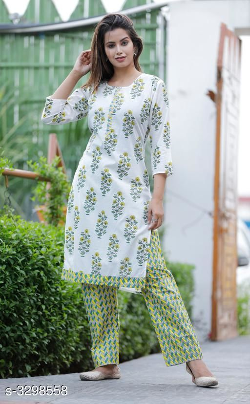 Kurta Sets Hariprima Elan Kurti Set  *Fabric* Kurti  - Cotton , Pant -   Cotton  *Sleeves* Sleeves Are Included  *Size* Kurti -  M - 38 in, L - 40 in, XL - 42 in, Pant - M - 30 in, L - 32 in, XL - 34 in, ,  *Length* Kurti - Up To 42 in, Pant - Up To 39 in  *Type* Stitched  *Description* It Has 1 Piece Of Kurti & It Has 1 Piece Of Pant  *Work* Kurti - Printed , Pant- Printed  *Sizes Available* M, L, XL, XXL   Supplier Rating: ★3.6 (12) SKU: SKT1111 Free shipping is available for this item. Pkt. Weight Range: 500  Catalog Name: Hariprima Elan Kurti Sets Vol 1 - SK Kripa Code: 967-3298558--