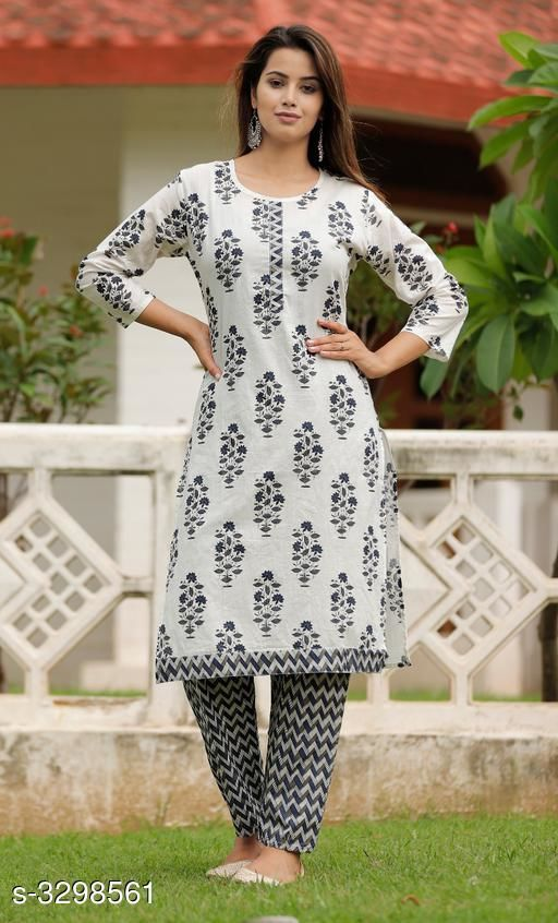Kurta Sets Hariprima Elan Kurti Set  *Fabric* Kurti  - Cotton , Pant -   Cotton  *Sleeves* Sleeves Are Included  *Size* Kurti -  M - 38 in, L - 40 in, XL - 42 in, Pant - M - 30 in, L - 32 in, XL - 34 in,  *Length* Kurti - Up To 42 in, Pant - Up To 39 in  *Type* Stitched  *Description* It Has 1 Piece Of Kurti & It Has 1 Piece Of Pant  *Work* Kurti - Printed , Pant - Printed  *Sizes Available* M, L, XL, XXL   Supplier Rating: ★3.6 (12) SKU: SKT1113 Free shipping is available for this item. Pkt. Weight Range: 500  Catalog Name: Hariprima Elan Kurti Sets Vol 1 - SK Kripa Code: 967-3298561--