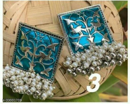 Designer Traditional Oxidized Afghani Style Big Jhumka Jhumki Colored Enamel Work Ghungroo Earrings for Women and Girls Minakari Earring Lite Blue Silver