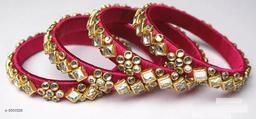 Ladies Classy Silk Thread Bangles (Set Of 4 )