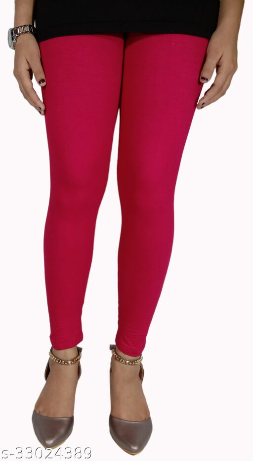 Women's Ankle Length Cotton Leggings Ultra Comfort (Red)