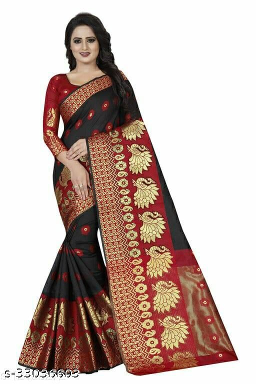 Women's Beautiful Ethic Wear Black-Red Colour Cotton Silk Saree