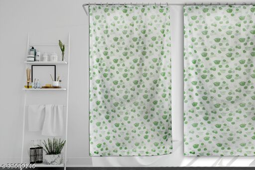 Stylista Set of 2 Waterproof Shower Curtains for Bathroom 7 feet Height 4.5 feet Width Floral Pattern Green with 16 Hooks