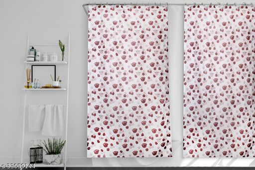 Stylista Set of 2 Waterproof Shower Curtains for Bathroom 7 feet Height 4.5 feet Width Floral Pattern Brown with 16 Hooks